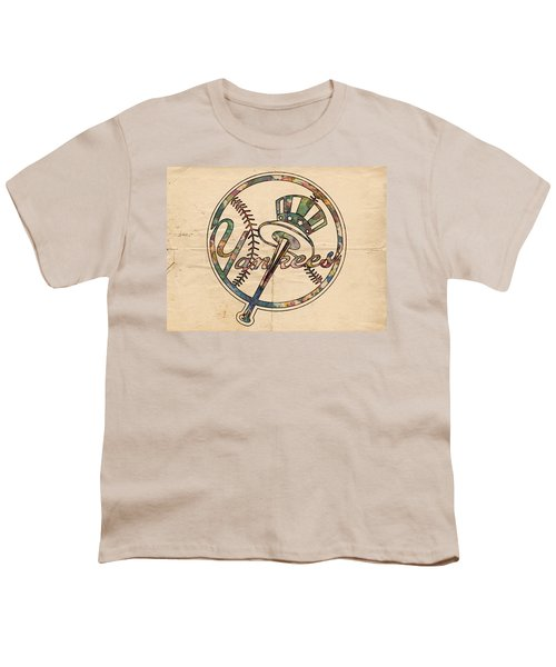 New York Yankees Poster Vintage Youth T-Shirt by Florian Rodarte