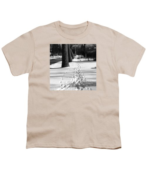 Pet Prints In The Snow Youth T-Shirt by Frank J Casella
