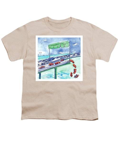 Red Cars Drop Off A Bridge Under A Sign That Says Youth T-Shirt by Michael Crawford