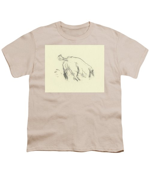 Sketch Of A Dog Digging A Hole Youth T-Shirt
