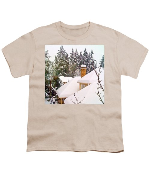 Snow Covered Rooftops - Winter In Lake Oswego Or Youth T-Shirt