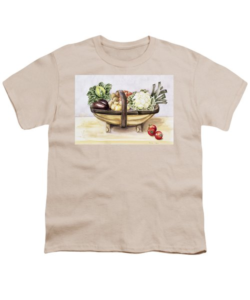 Still Life With A Trug Of Vegetables Youth T-Shirt by Alison Cooper