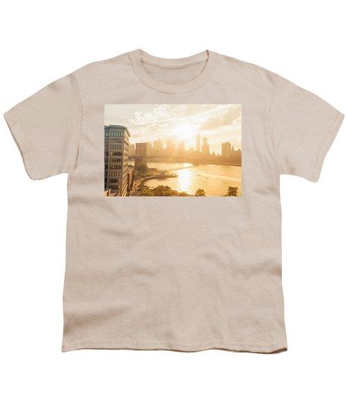 Sunset - Brooklyn Bridge - New York City Youth T-Shirt
