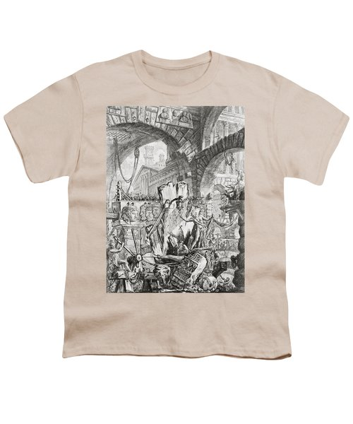 The Man On The Rack Plate II From Carceri D'invenzione Youth T-Shirt by Giovanni Battista Piranesi