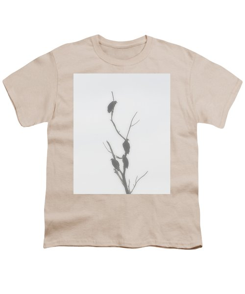 Their Waiting Four Black Vultures In Dead Tree Youth T-Shirt by Chris Flees