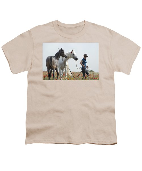 Three At The Poppies' Field... 1 Youth T-Shirt by Dubi Roman