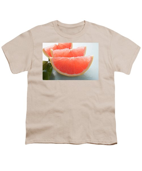 Three Pink Grapefruit Wedges, Leaves Beside Them Youth T-Shirt
