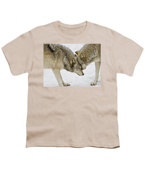 Two Wolves In  A Staredown Youth T-Shirt