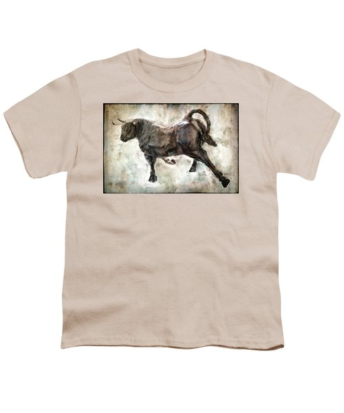 Wild Raging Bull Youth T-Shirt by Daniel Hagerman