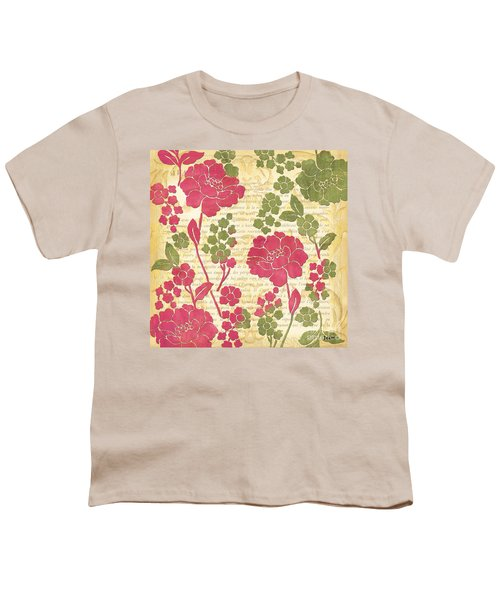 Raspberry Sorbet Floral 1 Youth T-Shirt by Debbie DeWitt