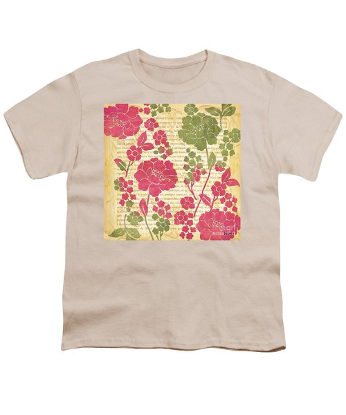 Raspberry Sorbet Floral 2 Youth T-Shirt by Debbie DeWitt