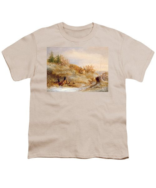 Fox And Pheasants In Winter Youth T-Shirt by Anonymous