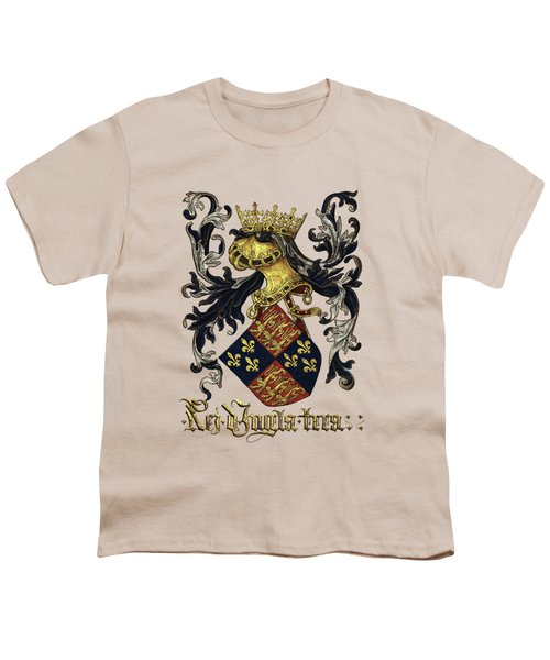 King Of England Coat Of Arms - Livro Do Armeiro-mor Youth T-Shirt by Serge Averbukh