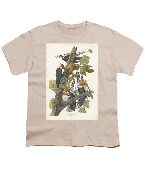 Pileated Woodpecker Youth T-Shirt by John James Audubon