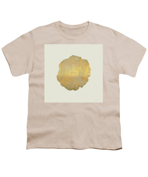 Rings Of A Tree Trunk Cross-section In Gold On Linen  Youth T-Shirt by Serge Averbukh