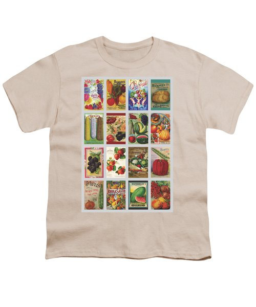 Vintage Farm Seed Packs Youth T-Shirt by Debbie Karnes