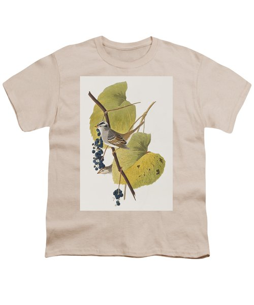 White-crowned Sparrow Youth T-Shirt by John James Audubon