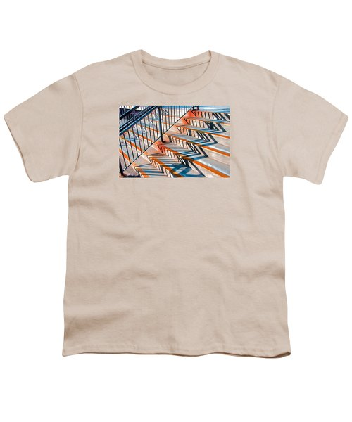Zig Zag Shadows On Train Station Steps Youth T-Shirt