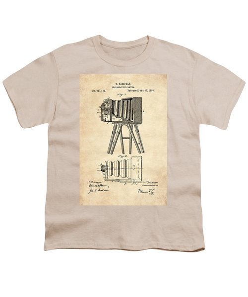 1885 Camera Us Patent Invention Drawing - Vintage Tan Youth T-Shirt
