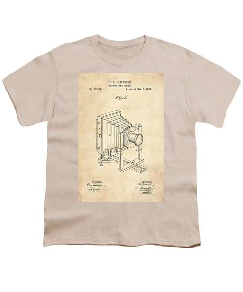 1888 Camera Us Patent Invention Drawing - Vintage Tan Youth T-Shirt