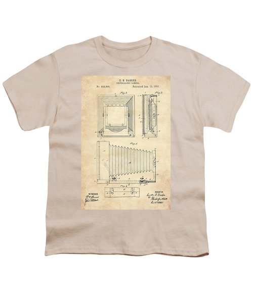 1891 Camera Us Patent Invention Drawing - Vintage Tan Youth T-Shirt