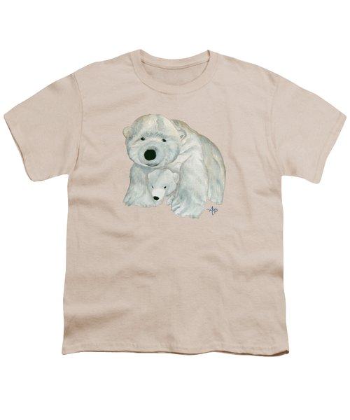 Cuddly Polar Bear Youth T-Shirt by Angeles M Pomata