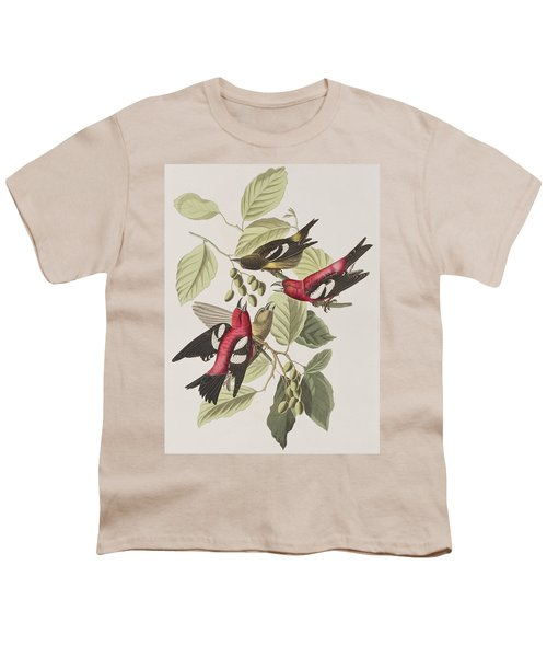 White-winged Crossbill Youth T-Shirt by John James Audubon