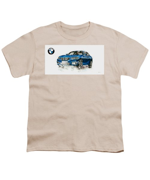 2014 B M W 2 Series Coupe With 3d Badge Youth T-Shirt by Serge Averbukh