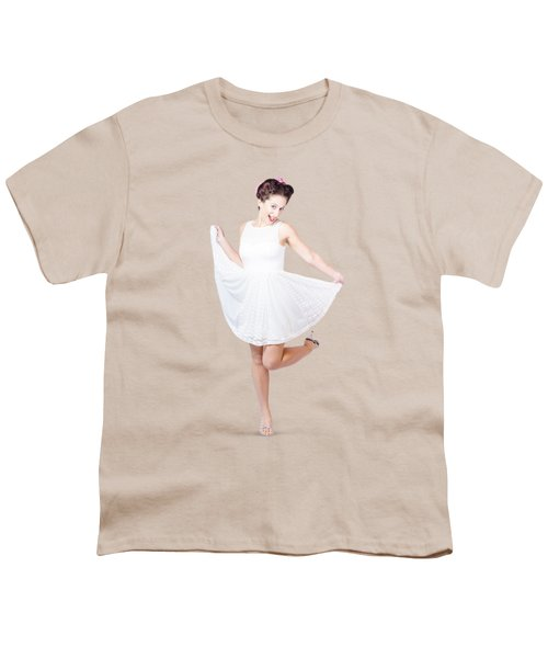 50s Pinup Woman In White Dress Dancing Youth T-Shirt by Jorgo Photography - Wall Art Gallery