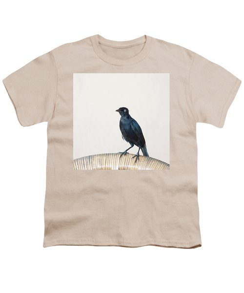 A Carib Grackle (quiscalus Lugubris) On Youth T-Shirt by John Edwards