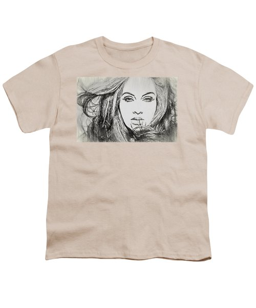 Adele Charcoal Sketch Youth T-Shirt by Dan Sproul