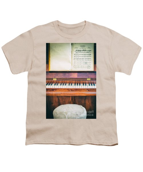 Youth T-Shirt featuring the photograph Antique Piano And Music Sheet by Silvia Ganora