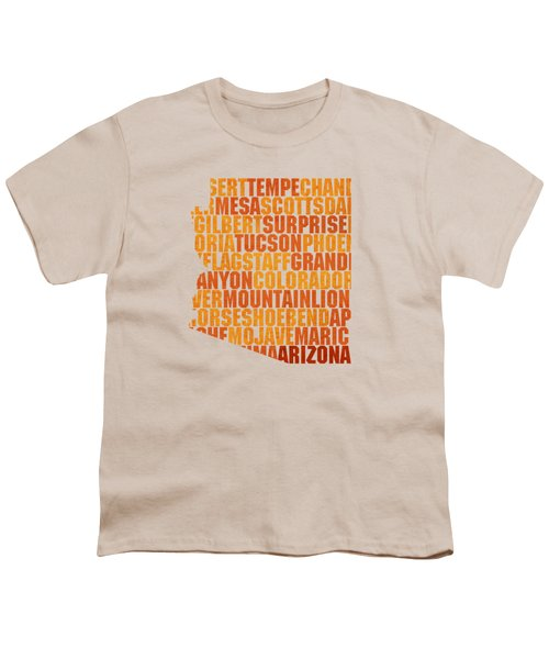 Arizona State Outline Word Map Youth T-Shirt by Design Turnpike
