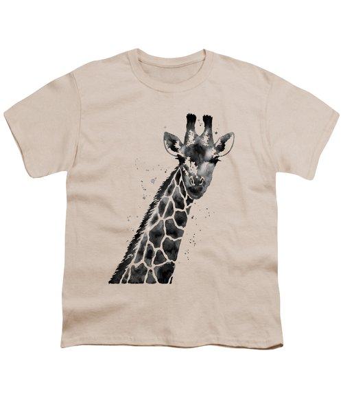Giraffe In Black And White Youth T-Shirt by Hailey E Herrera