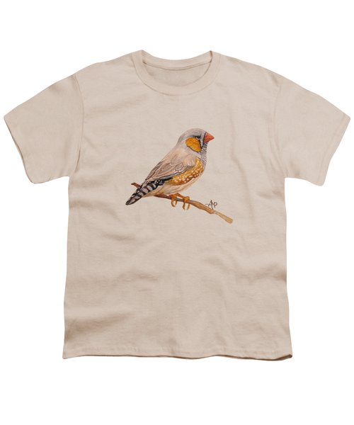 Zebra Finch Youth T-Shirt by Angeles M Pomata