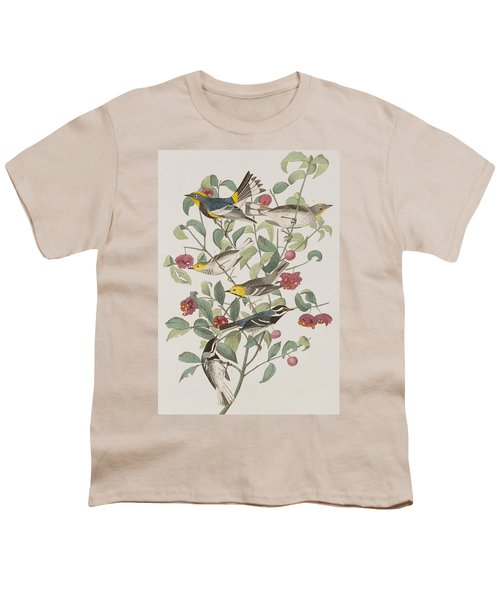 Audubons Warbler Hermit Warbler Black-throated Gray Warbler Youth T-Shirt by John James Audubon
