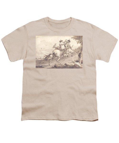 Back View Of A Centaur Abducting A Satyress Youth T-Shirt