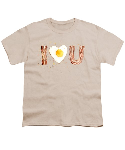 Bacon And Egg I Heart You Watercolor Youth T-Shirt by Olga Shvartsur