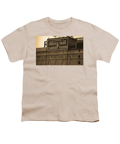 Baltimore Orioles Park At Camden Yards Sepia Youth T-Shirt