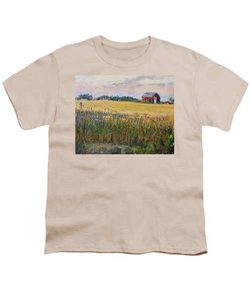 Barn In A Field Of Grain Youth T-Shirt