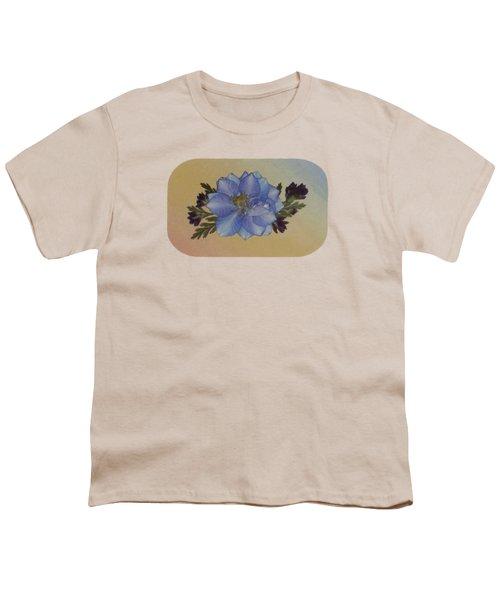 Blue Larkspur And Oregano Pressed Flower Arrangement Youth T-Shirt