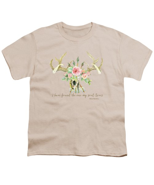 Boho Love - Deer Antlers Floral Inspirational Youth T-Shirt by Audrey Jeanne Roberts
