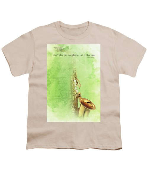 Charlie Parker Saxophone Green Vintage Poster And Quote, Gift For Musicians Youth T-Shirt