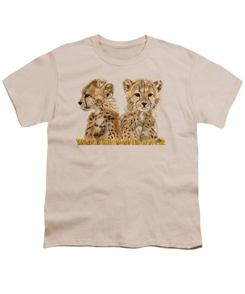 Cheetah Cubs Youth T-Shirt by Angeles M Pomata