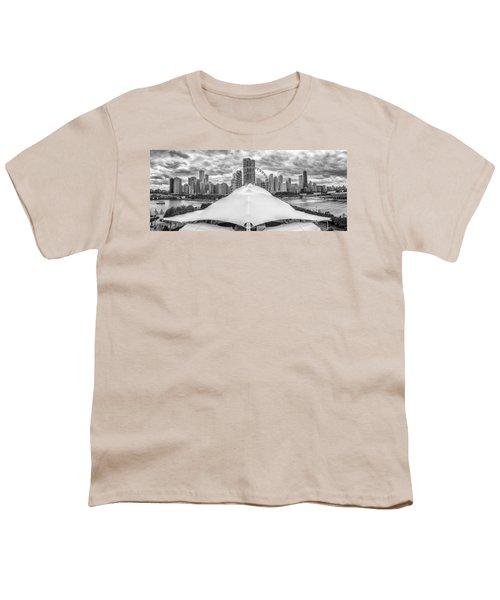 Youth T-Shirt featuring the photograph Chicago Skyline From Navy Pier Black And White by Adam Romanowicz