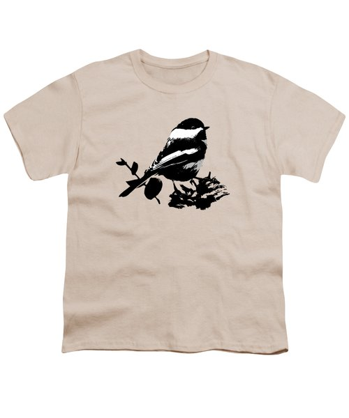 Chickadee Bird Pattern Youth T-Shirt by Christina Rollo