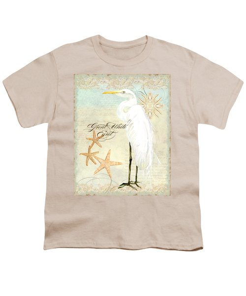 Coastal Waterways - Great White Egret 3 Youth T-Shirt by Audrey Jeanne Roberts
