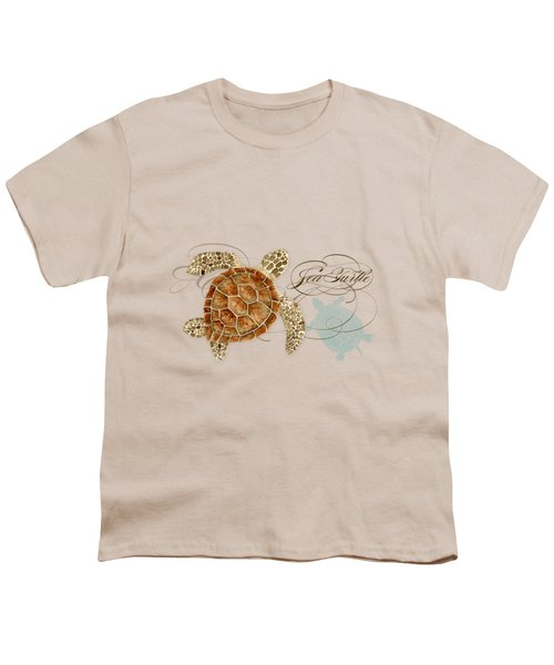 Coastal Waterways - Green Sea Turtle Rectangle 2 Youth T-Shirt by Audrey Jeanne Roberts