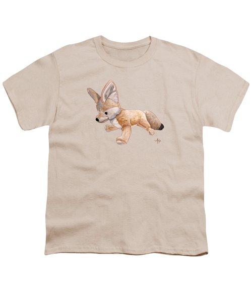 Cuddly Snow Fox Youth T-Shirt by Angeles M Pomata