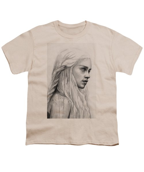 Daenerys Watercolor Portrait Youth T-Shirt by Olga Shvartsur